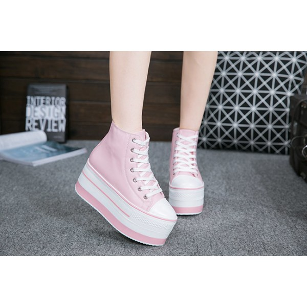 Casual skor i rosa färg, 7 cm höga sulor Pink 38