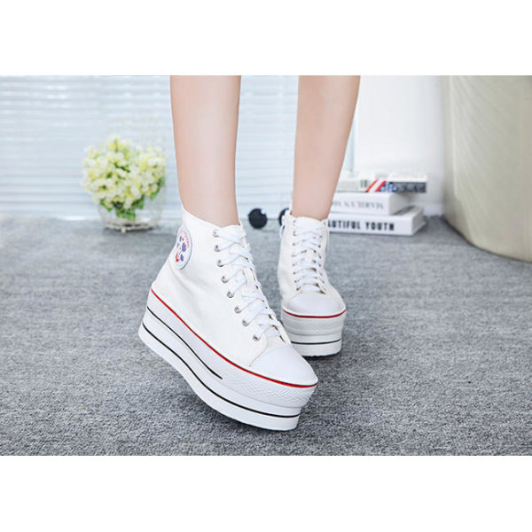 Vita sneaker med 7 cm höga sulor White 36