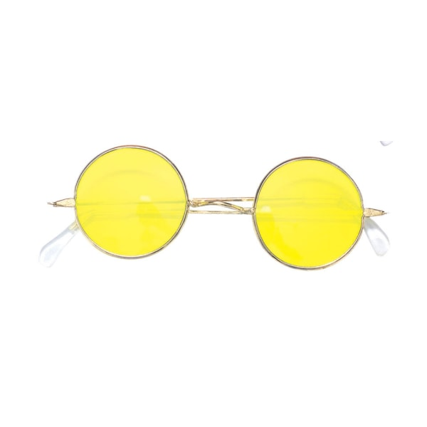 Hippie glasögon gula runda flower power