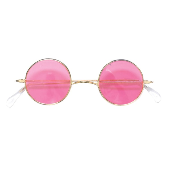 Hippie glasögon rosa runda flower power