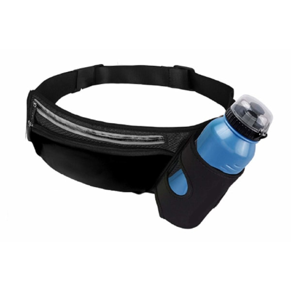 Midjeväska med flaskhållare och mobilfack - svart