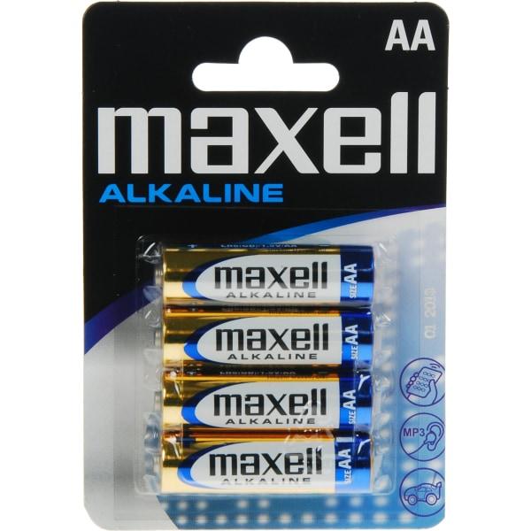 Maxell batterier, AA (LR06), Alkaline, 1,5V, 4-pack