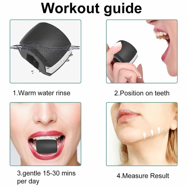 Jaw exerciser för käklinje-träning Svart