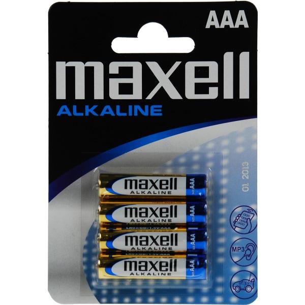 Maxell batterier, AAA (LR03), Alkaline, 1,5V, 4-pack