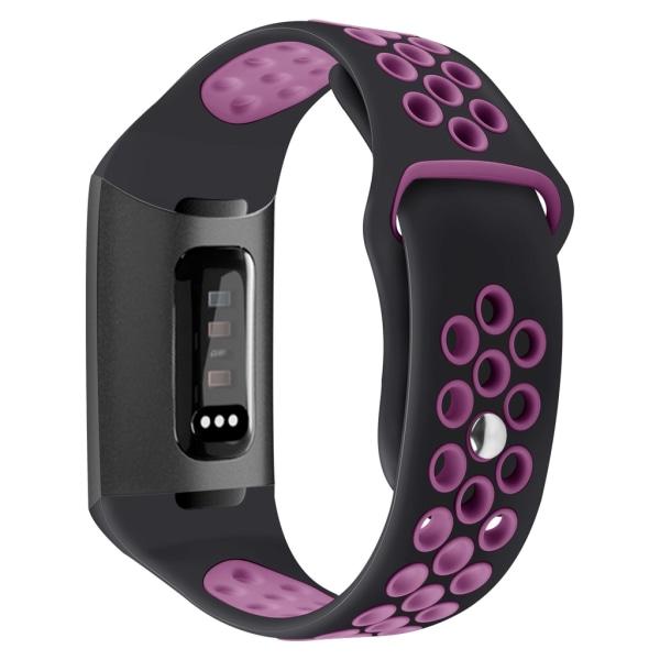Fitbit Charge 3/4 armband silikon Svart/Lila (S)