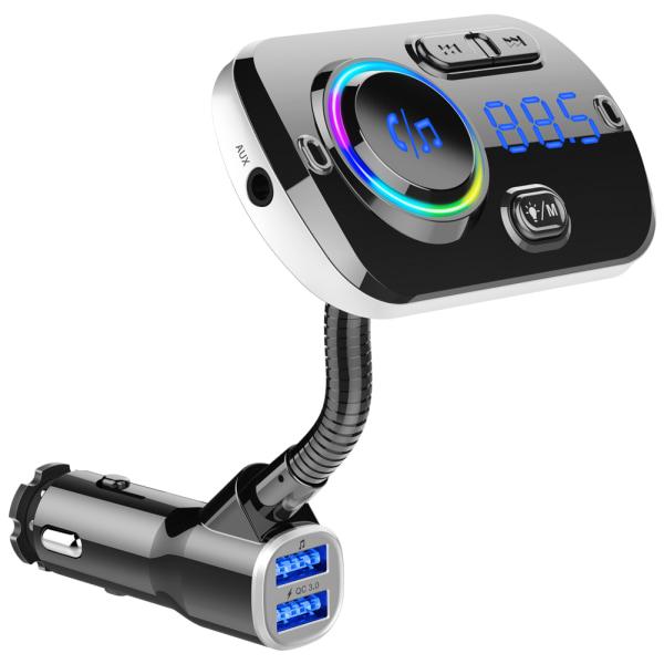 Trådlös FM-sändare för bilen LED 7 färger QC3.0 snabbladdar