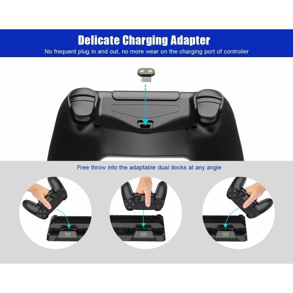 Multifunktionellt PS4 stativ med fläkt, laddstation, spelförva