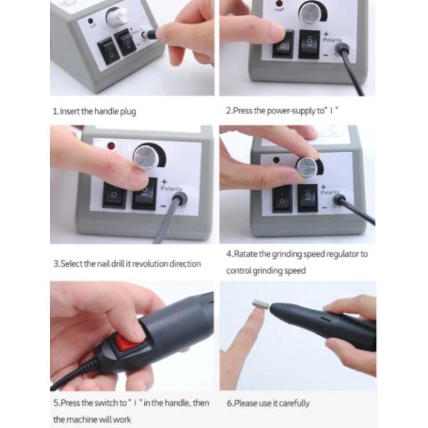 Elektrisk nagelfil med 12 slip-/polertillbehör