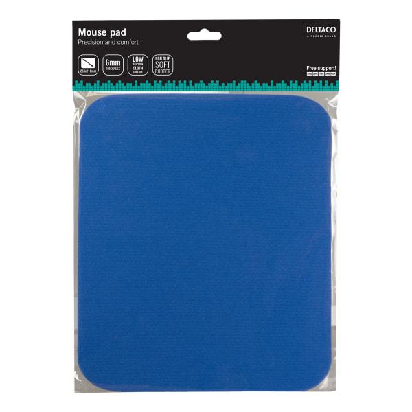 DELTACO musmatta, tygbeklädd gummi, 6mm blå
