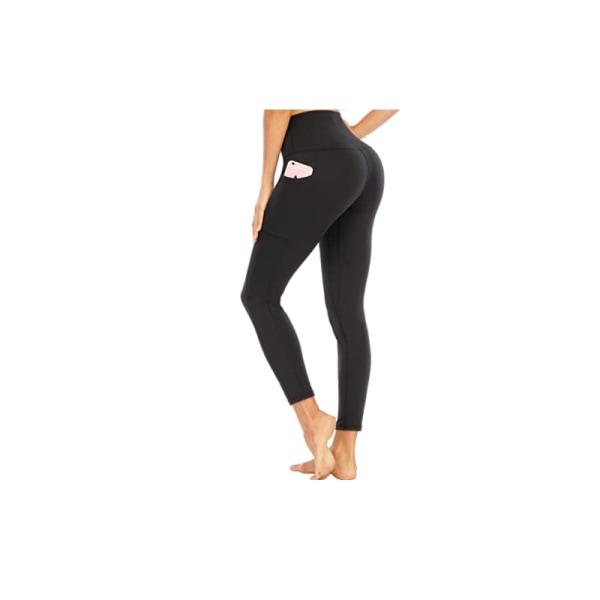 Leggings Hög Midja Yoga Fitness Svart (M)