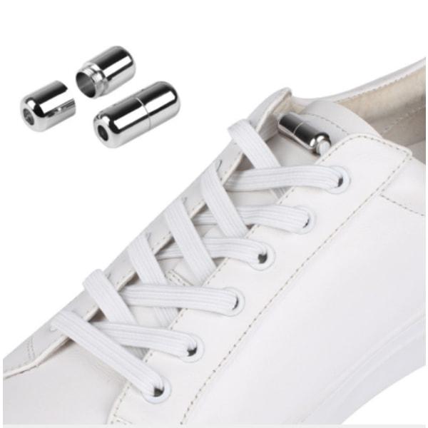 Elastiska knytfria skosnören med låsningslösning Vita