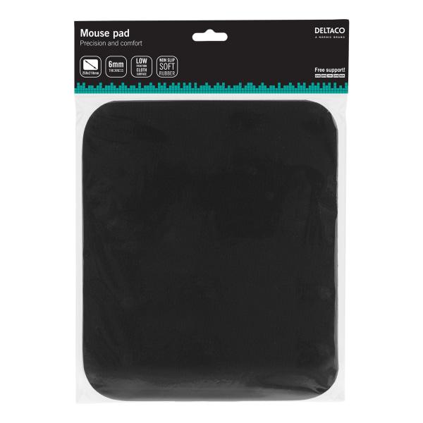 DELTACO musmatta, tygbeklädd gummi, 6mm svart
