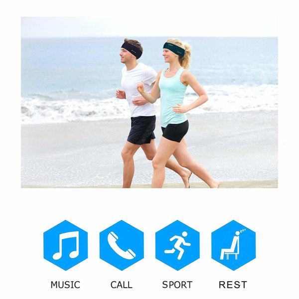 Pannband med Bluetooth hörlurar och mikrofon - svart
