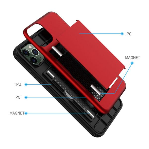 iPhone 12 Max skal med kortfack TPU/PC Röd