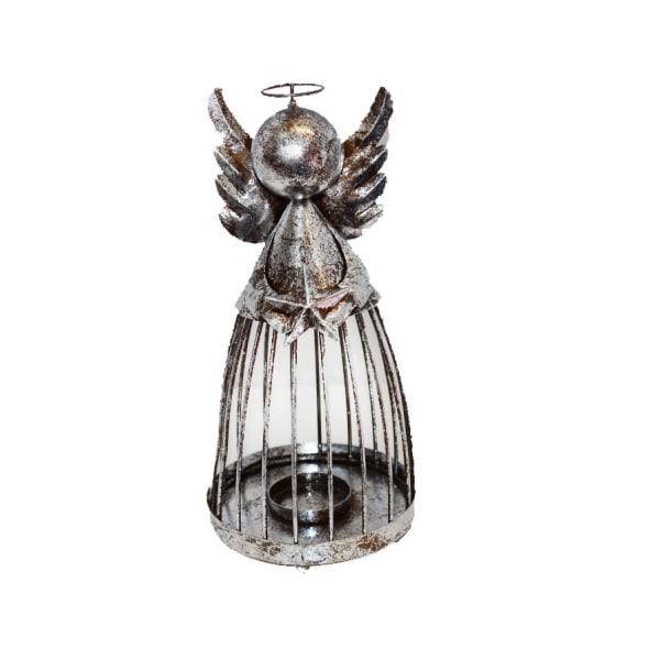 En vacker ängel i metall med plats för värmeljus 29 cm hög Silver