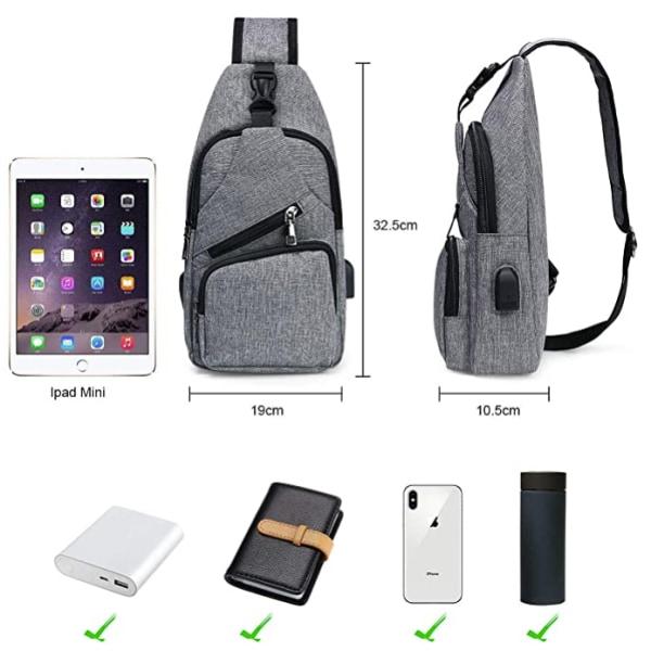 Sling bag, chest bag with USB charging port, men women