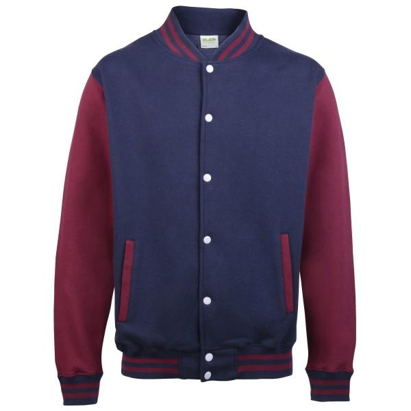 Awdis Unisex Varsity Jacket / skolkläder 7-8 Oxford Navy / Oxford Navy / Burgundy 7-8