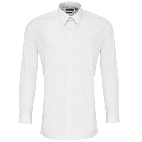 Premier Mens långärmad Poplin arbetsskjorta 17.5 Vit White 17.5