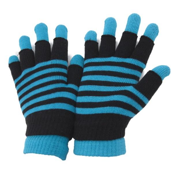 Striped Thermal 2 -i -1 handskar för damer/kvinnor (Fingerless An Teal One Size
