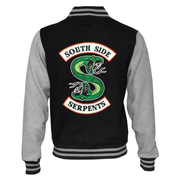 Riverdale Dam / Dam South Side Serpents Logo Varsity Jacket Black/Heather Grey XL