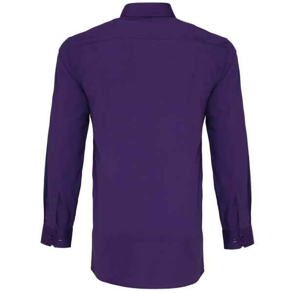 Premier herrlångärmad Poplin arbetströja för män 16,5 Lila Purple 16.5