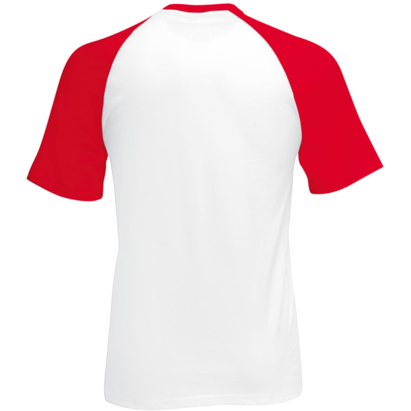 Fruit Of The Loom Mens kortärmad baseball T-shirt M vit/röd White/Red M