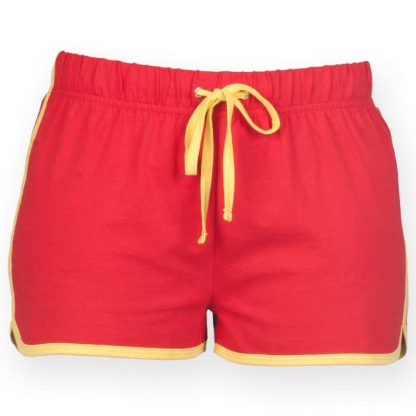 Skinni Fit damtröja / retroträning / fitnessshorts för damer Red/ Yellow 2XL