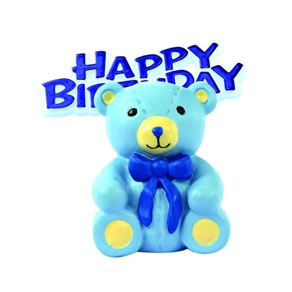Jubileumshus Grattis på födelsedagen Teddy Bear Cake Decoration Topp Blue One Size