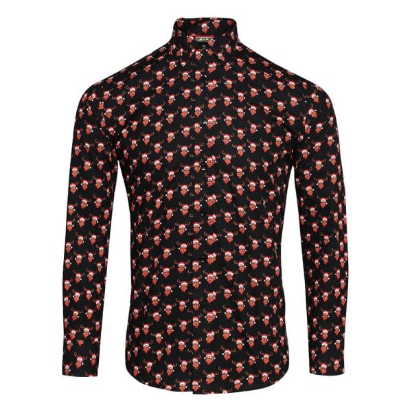Julbutik Herrtryckt julskjorta XL renar svart Reindeer Black XL