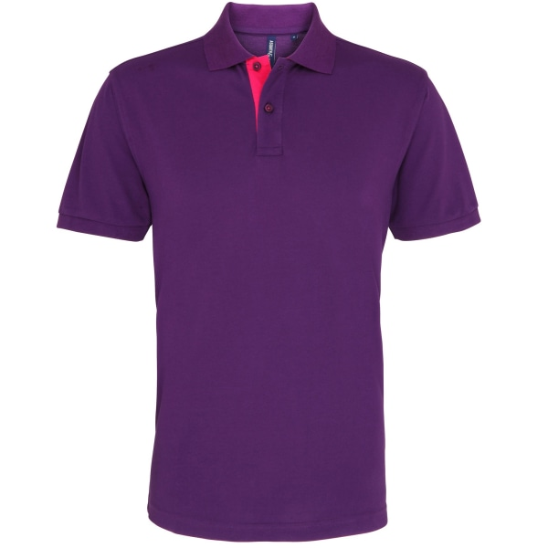 Asquith & Fox Mens Pikétröja Classic Fit Kontrast 3XL Lila / P Purple/ Pink 3XL