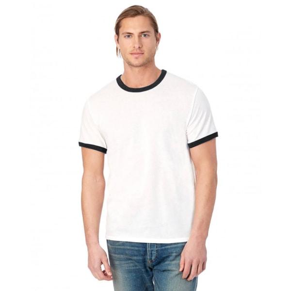 Alternative Apparel Mens 50/50 Vintage Jersey Ringer T-Shirt LW White/Black L