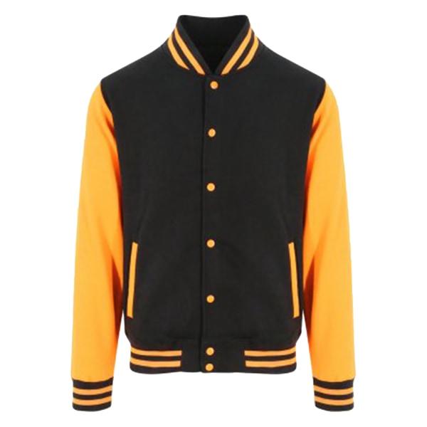 Awdis Unisex Varsity Jacket S Jet Black / Orange Crush