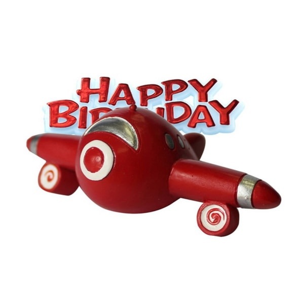 Anniversary House Grattis på födelsedagen Airplane Cake Decoration Toppe Red One Size