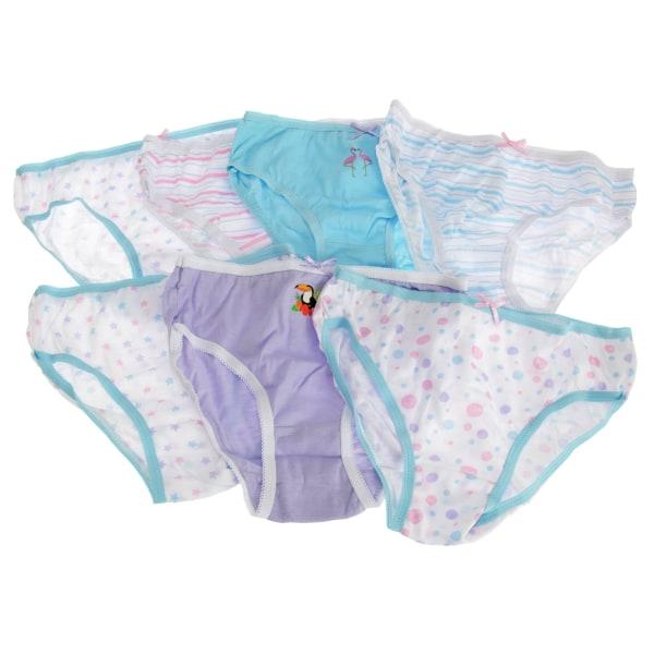 Barnflickor Bomullsbyxor (7 par) 5-6 år Vit/Rosa/Gre White/Pink/Green 5-6 Years