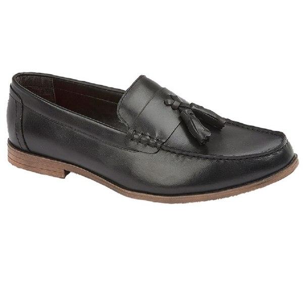 Lambretta Mens Leather Tassel Loafer 8 UK Black Black 8 UK