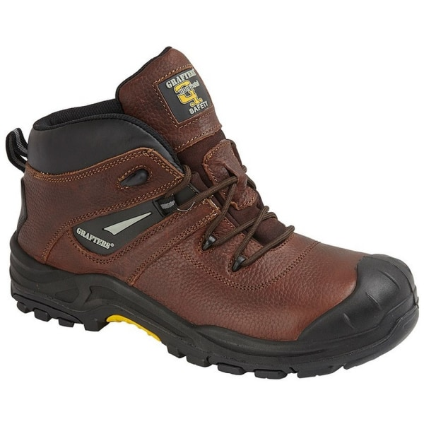 Grafters Mens Conker Tumbled Leather Laced Safety Boot 10 UK Bro Brown 10 UK