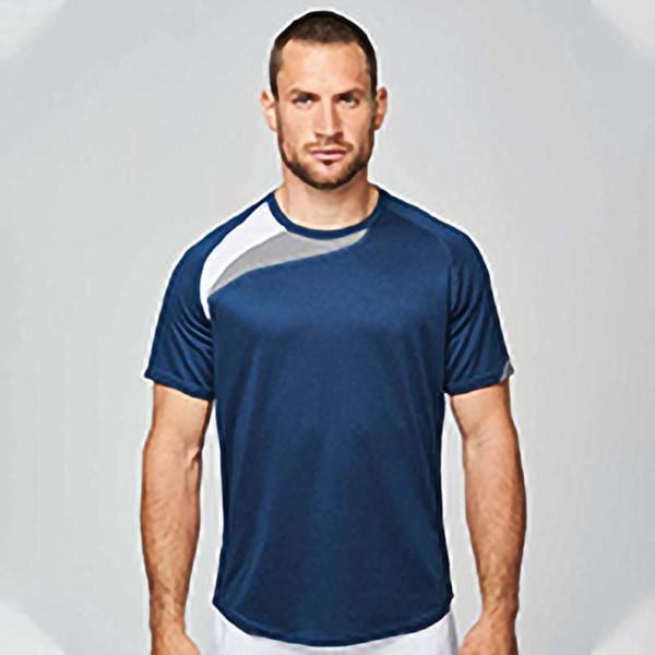 Kariban Proact Mens kortärmad sport-T-shirt med rund hals 2XL Na Navy/ White/ Storm Grey 2XL