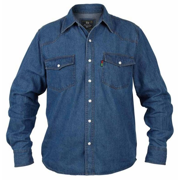 Duke Mens Kingsize Western Denim Shirt 4XL Svart