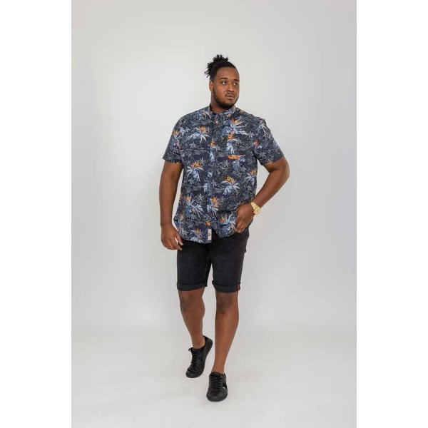 Duke Mens Severn D555 Hawaiian Leaf Print Shirt 4XL Charcoal
