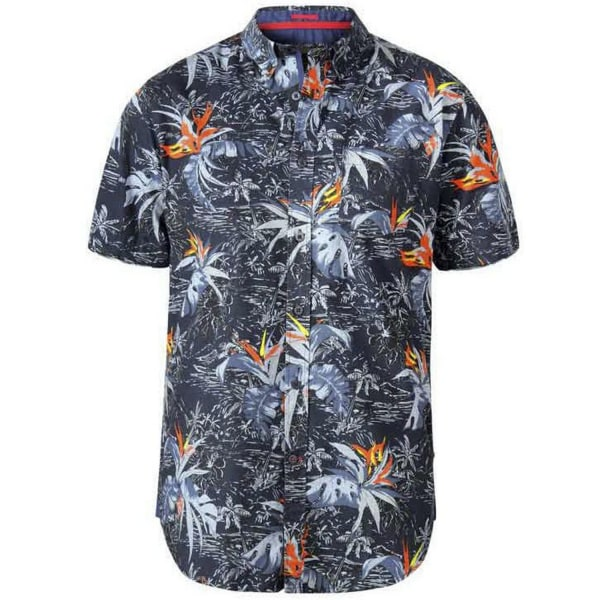 Duke Mens Severn D555 Hawaiian Leaf Print Shirt 4XL Charcoal Charcoal 4XL