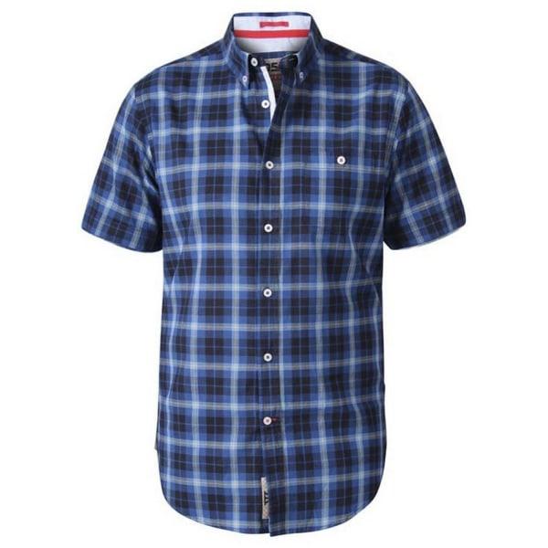 Duke Mens Watson D555 rutig kortärmad tröja 5XL Navy
