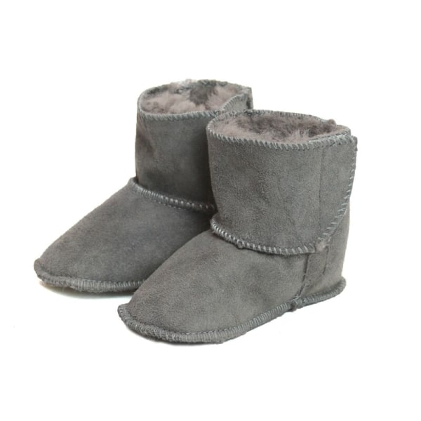 Eastern Counties Leather Baby Sheepskin Touch Fasten Tab Booties Grey M