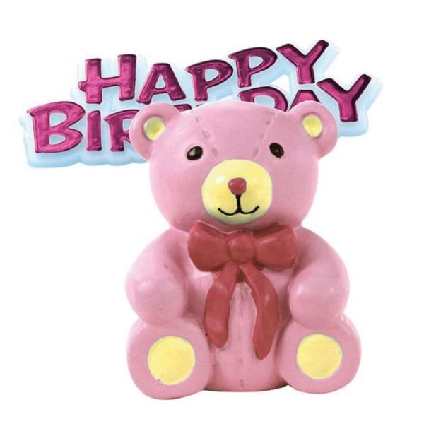 Årsdagshusfödelsedagsrosa nallebjörnkakadekoration Toppe Pink One Size