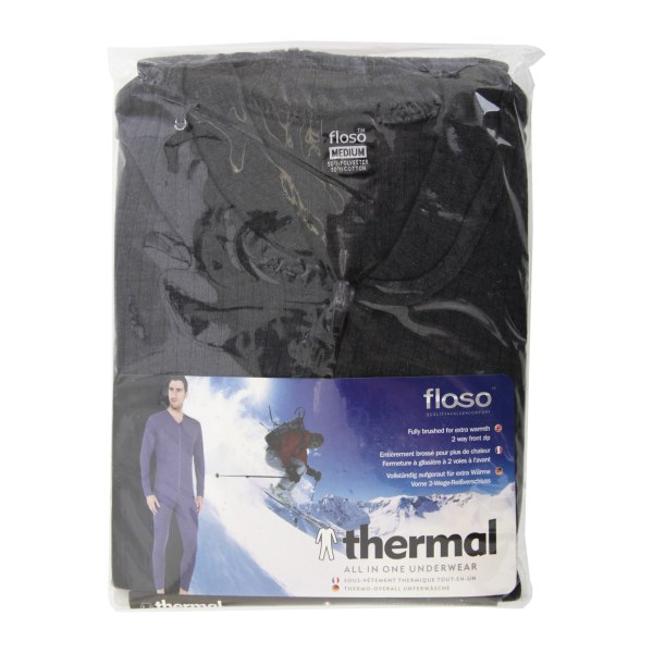 FLOSO Mens Thermal Underwear All In One Union Suit Chest: 48-50i Charcoal Chest: 48-50inchs (XX-Large)
