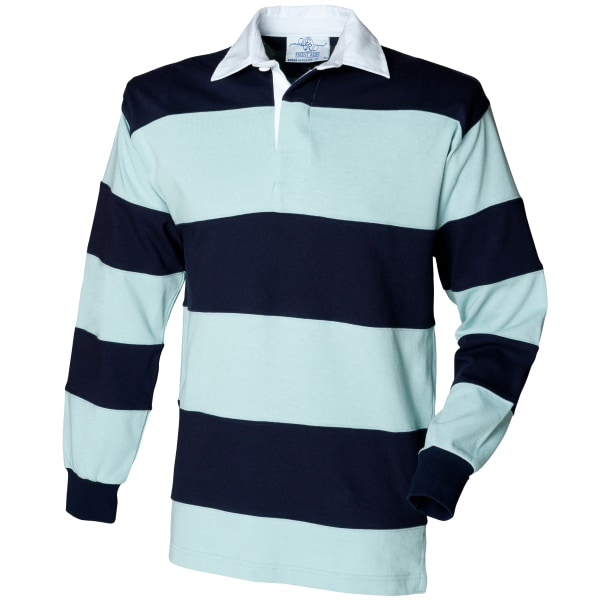 Front Row Sewn Stripe Långärmad Sport Rugby Pikétröja XL Duc Duck Egg/Navy XL