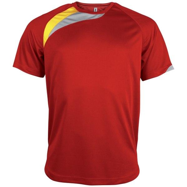 Kariban Proact Mens kortärmad sport-T-shirt med rund hals M Röd/ Red/ Black/ Storm Grey M