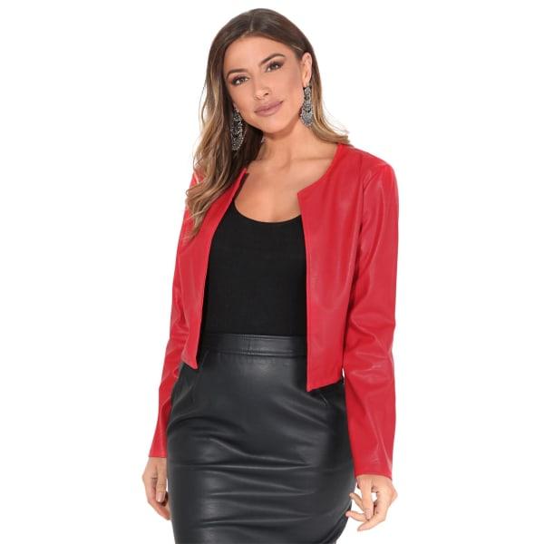Krisp Womens / Ladies PU Cropped Open Style Jacket M Röd