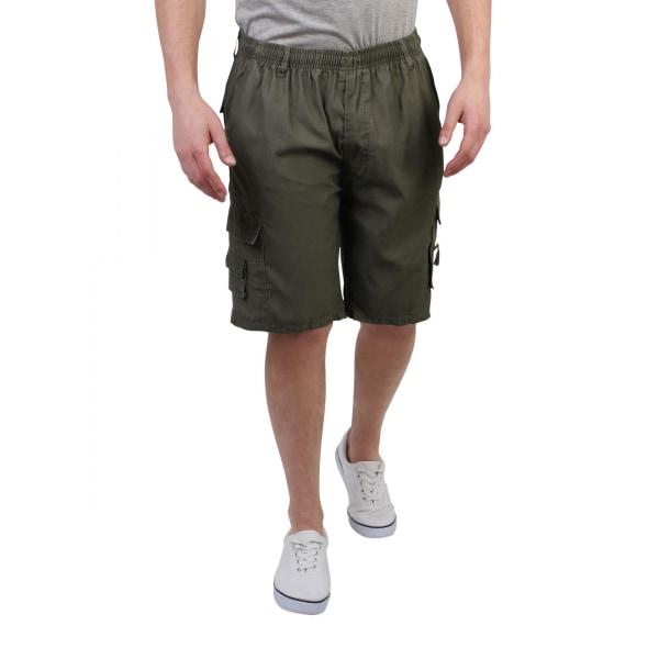 Krisp Mens Plain Cotton Cargo Shorts M Army Green