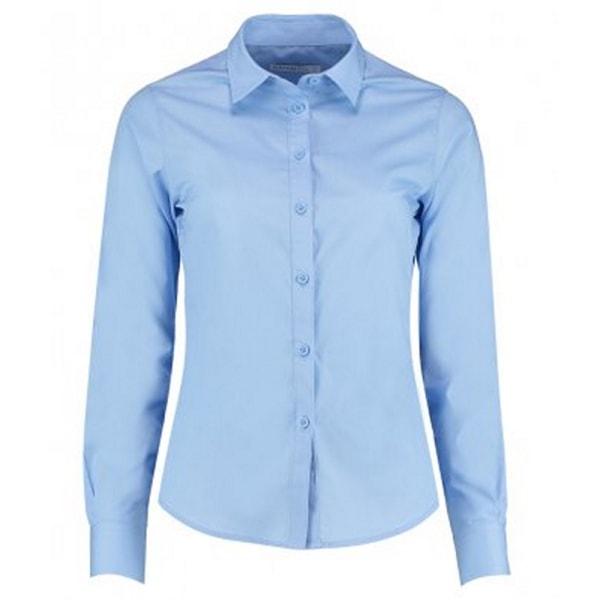 Kustom Kit Damer / damer långärmad skräddarsydd poplinskjorta 6 Lig Light Blue 6