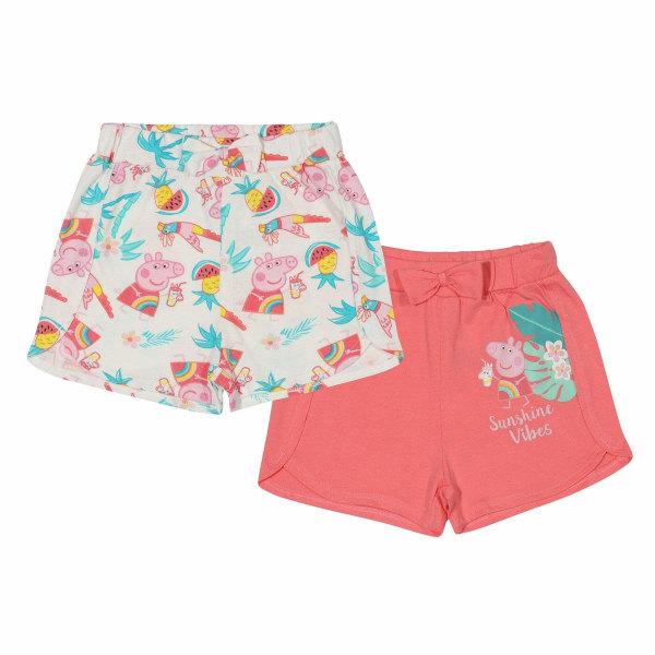 Peppa Pig Girls Sunshine Vibes Shorts (2-pack) 4-5 Years Vit / r White/Pink 4-5 Years